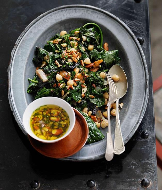 "[**Shane Delia's autumn greens and beans, smoked almonds and garlic**](https://www.gourmettraveller.com.au/recipes/chefs-recipes/shane-delia-autumn-greens-and-beans-smoked-almonds-and-garlic-7614|target=""_blank"")"