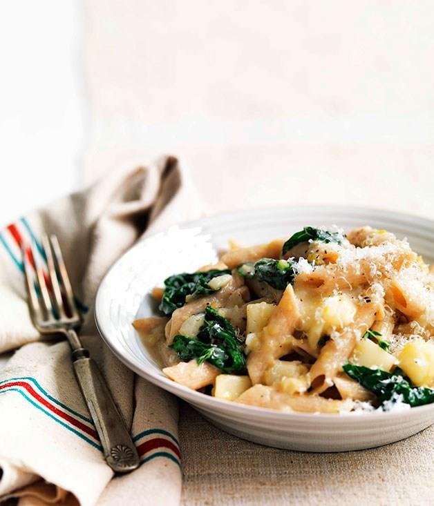 """[**Cavolo nero and Fontina penne**](https://www.gourmettraveller.com.au/recipes/fast-recipes/cavolo-nero-and-fontina-penne-13241