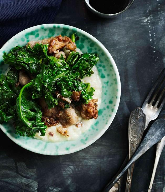 """[**Kale and sausage risotto**](https://www.gourmettraveller.com.au/recipes/browse-all/kale-and-sausage-risotto-10526
