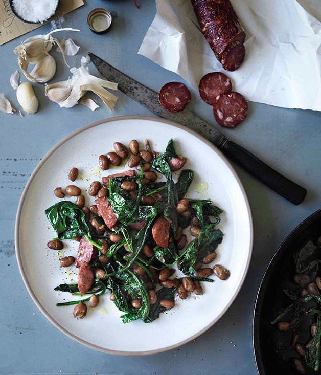 **Pan-fried cavolo nero, salami and borlotti beans**