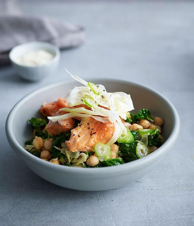 **Roast ocean trout with kale, fennel and chickpeas**