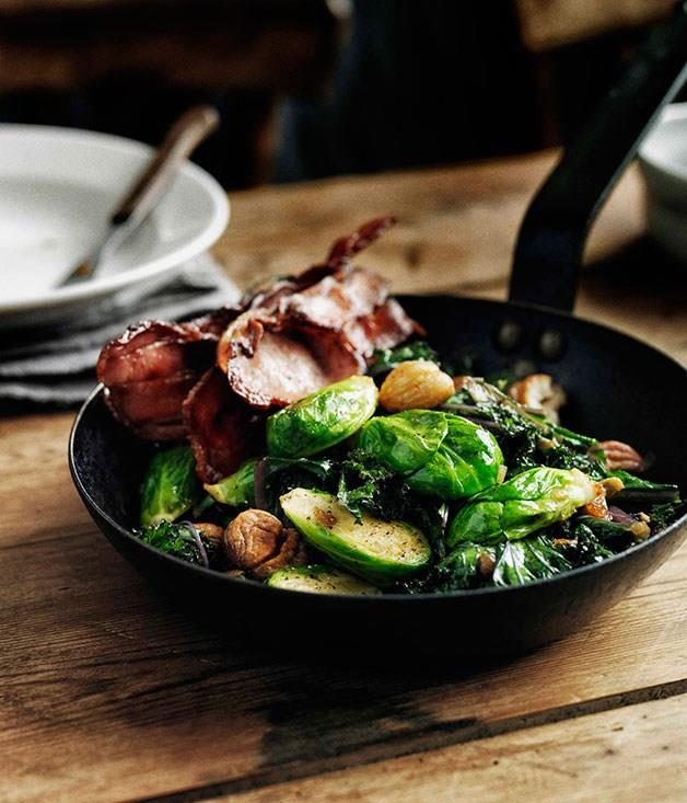 """[**Sautéed Brussels sprouts with curly kale, bacon and chestnuts**](https://www.gourmettraveller.com.au/recipes/browse-all/brussels-sprouts-gratin-11687