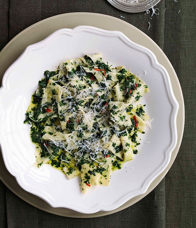 **Stracci with cavolo nero and garlic**