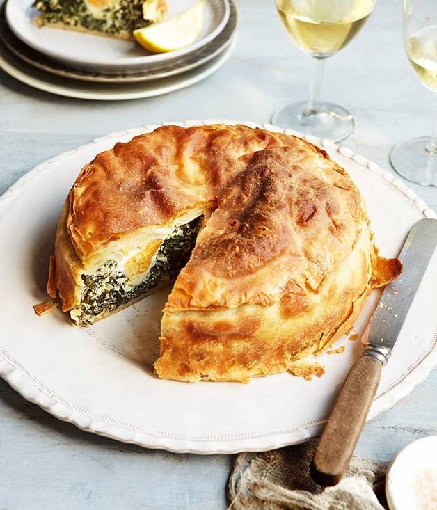 "[**torta Pasqualina and vermentino**](https://www.gourmettraveller.com.au/recipes/browse-all/torta-pasqualina-14305|target=""_blank"")"