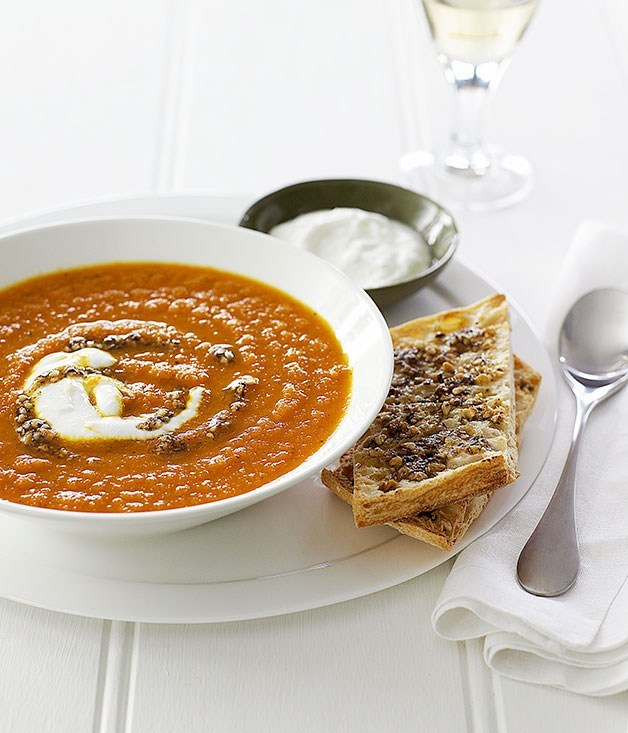 "**[Carrot soup with hazelnut dukkah](https://www.gourmettraveller.com.au/recipes/fast-recipes/carrot-soup-with-hazelnut-dukkah-12984|target=""_blank"")**"