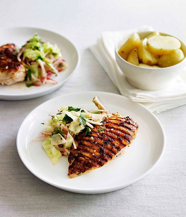 "**[Char-grilled chicken with warm cabbage and celeriac salad](https://www.gourmettraveller.com.au/recipes/fast-recipes/char-grilled-chicken-with-warm-cabbage-and-celeriac-salad-13102|target=""_blank"")**"