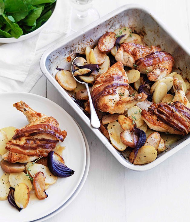 "**[Cider-roasted chicken with speck, apple and potato](https://www.gourmettraveller.com.au/recipes/fast-recipes/cider-roasted-chicken-with-speck-apple-and-potato-13185|target=""_blank"")**"