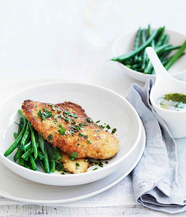 "**[Crumbed chicken with lemon, garlic and herb butter](https://www.gourmettraveller.com.au/recipes/fast-recipes/crumbed-chicken-with-lemon-garlic-and-herb-butter-13173|target=""_blank"")**"