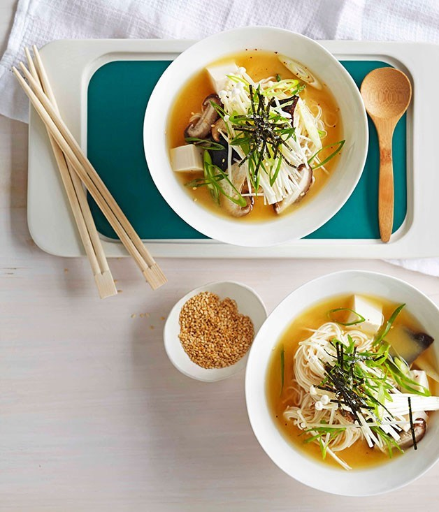 "**[Miso broth with tofu and mushrooms](https://www.gourmettraveller.com.au/recipes/fast-recipes/miso-broth-with-tofu-and-mushrooms-13361|target=""_blank"")**"