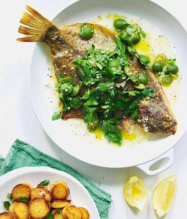 "**[Pan-roasted flounder with oregano, Sicilian olives and golden potatoes](https://www.gourmettraveller.com.au/recipes/fast-recipes/pan-roasted-flounder-with-oregano-sicilian-olives-and-golden-potatoes-13347|target=""_blank"")**"