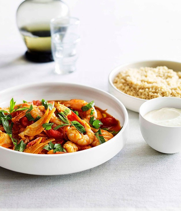 "**[Prawns with tomato, preserved lemon and couscous](https://www.gourmettraveller.com.au/recipes/fast-recipes/prawns-with-tomato-preserved-lemon-and-couscous-13105|target=""_blank"")**"