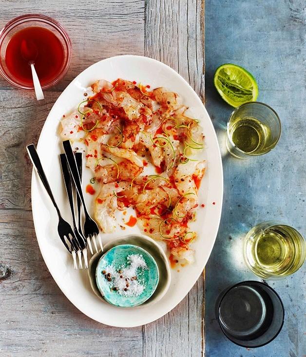 **Besan-fried prawns with saffron-braised vegetables**