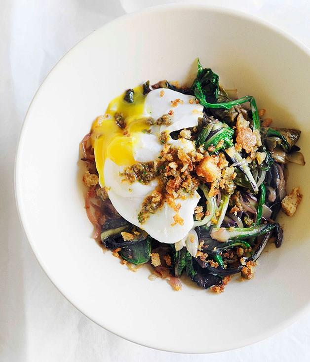 **Braised greens with poached egg**