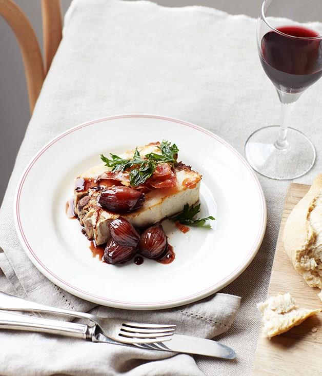 **Chicken and red wine terrine with braised shallots**