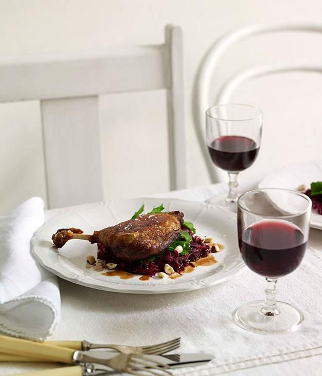 **Slow-cooked duck, braised red cabbage and hazelnuts**