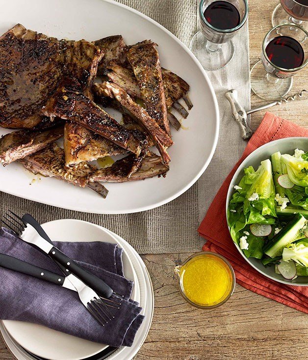 **Slow-roasted lamb ribs with cucumber and Persian feta salad**