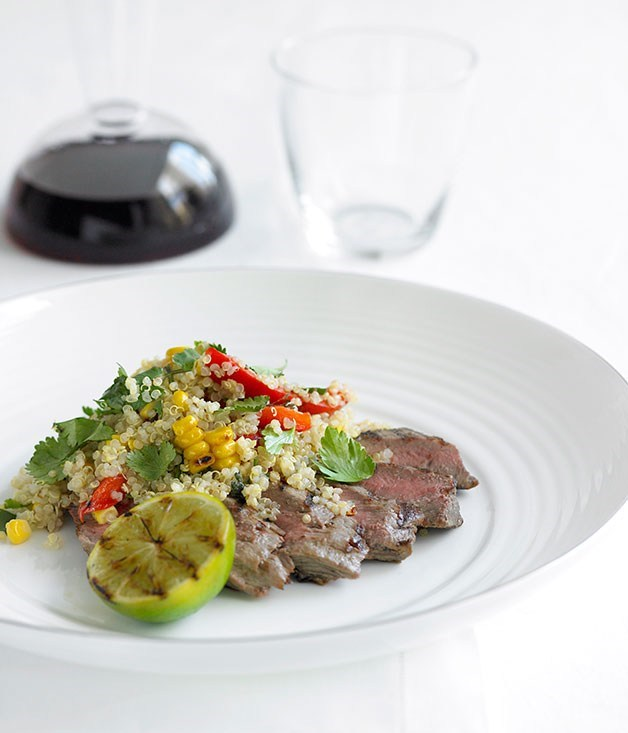 **Chargrilled lamb backstraps with corn and capsicum quinoa**