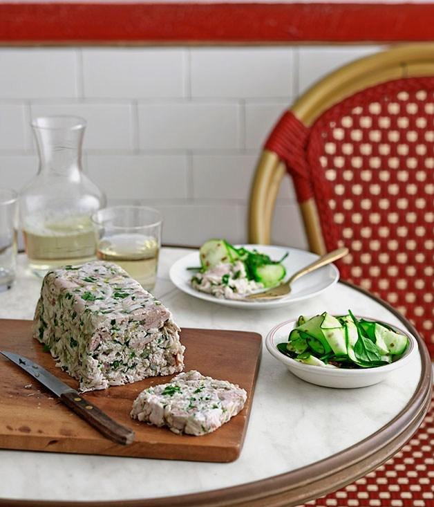 **Chicken and parsley terrine with zucchini salad**