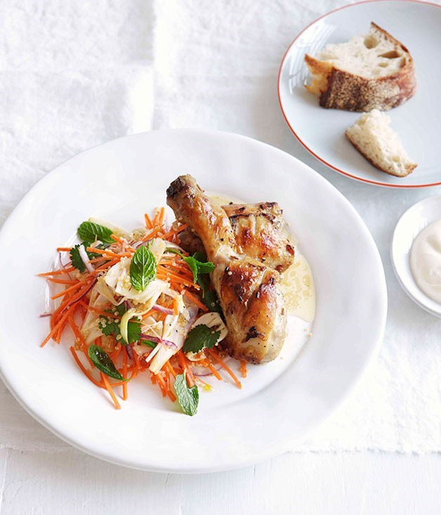 **Yoghurt-roasted chicken with quinoa, carrot and fennel slaw**