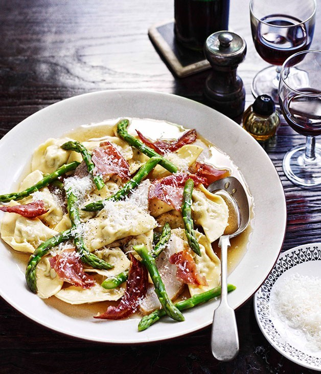 "[**Mezzalune ravioli with braised pork cheek and asparagus**](https://www.gourmettraveller.com.au/recipes/chefs-recipes/mezzalune-di-maiale-con-guanciale-brasato-e-asparagi-mezzalune-ravioli-with-braised-pork-cheek-and-asparagus-7718|target=""_blank"") <br><br>"