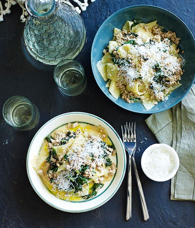 "**[Chicken and clove ragù with polenta pasta](https://www.gourmettraveller.com.au/recipes/chefs-recipes/chicken-and-clove-ragu-with-polenta-pasta-9164|target=""_blank"")**"