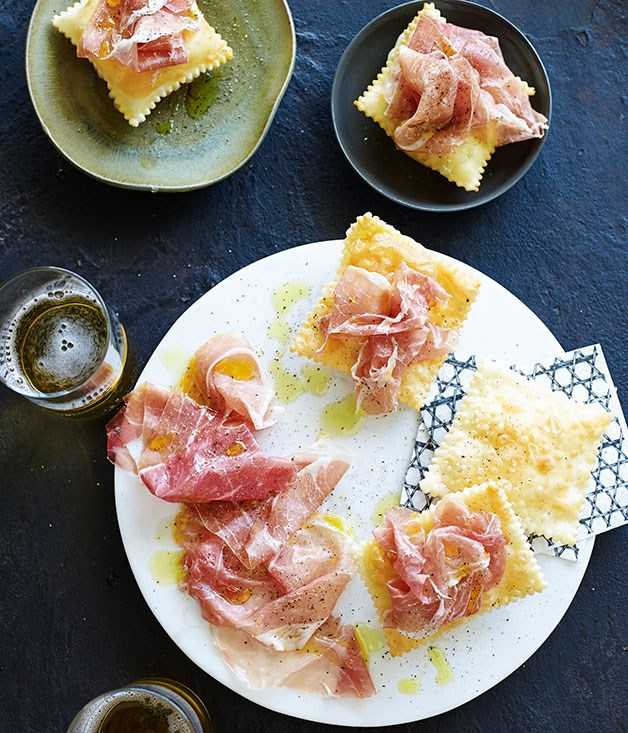 Gnocco fritto with prosciutto di San Daniele