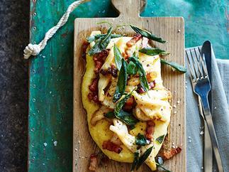 Soft polenta with calamari, pancetta and sage