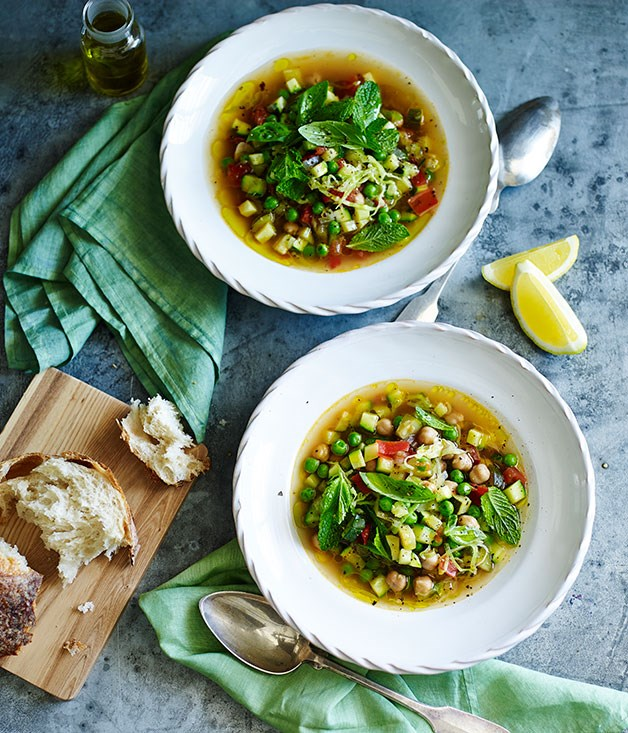 """**[Green minestrone with chickpeas and lemon](https://www.gourmettraveller.com.au/recipes/fast-recipes/green-minestrone-with-chickpeas-and-lemon-13455