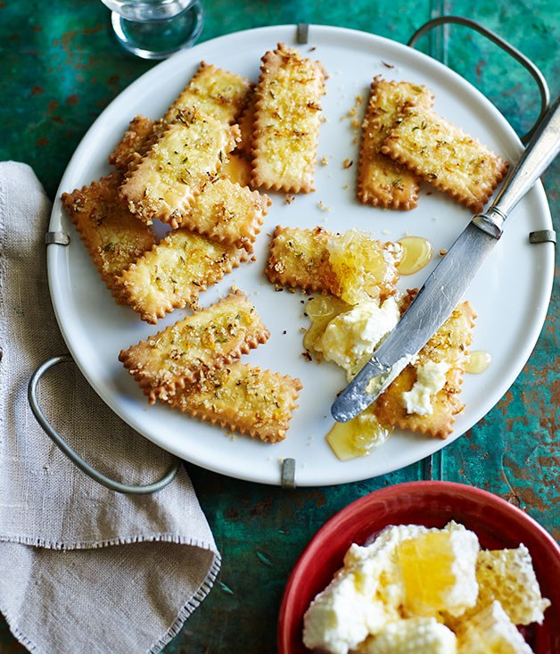 Lemon and fennel seed biscotti with ricotta and honey