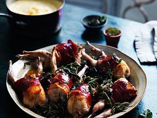 Roast quail with polenta