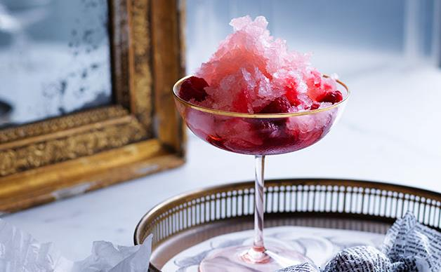 Pink moscato granita with crushed raspberries