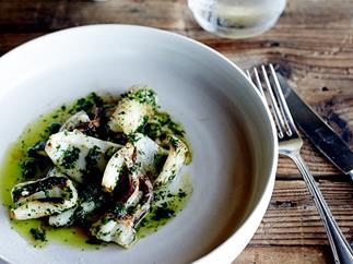 Grilled calamari with zhoug