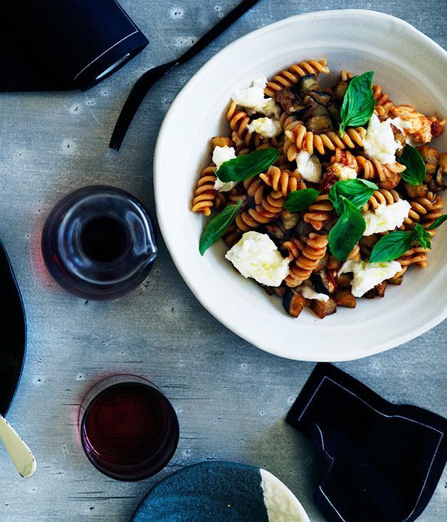 "**[Mitch Orr's fusilli alla Norma](https://www.gourmettraveller.com.au/recipes/chefs-recipes/fusilli-alla-norma-8026|target=""_blank""|rel=""nofollow"")**"