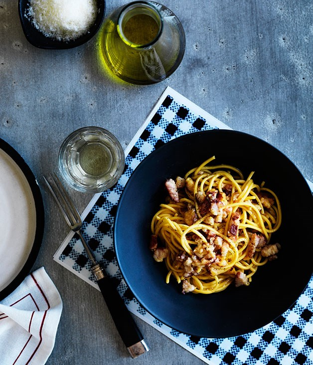 "**[Mitch Orr's smoked eel ""carbonara""](https://www.gourmettraveller.com.au/recipes/chefs-recipes/smoked-eel-carbonara-8028