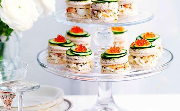 Crab and cucumber cocktail sandwiches