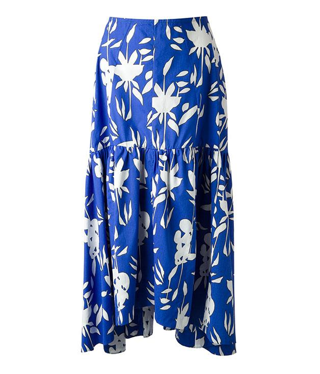 """**Marni floral print skirt** Maxi skirts and autumn go hand in hand. We like [Marni](http://farfetch.com """"Far Fetch"""")'s bold blue and white floral-printed number. $1019."""