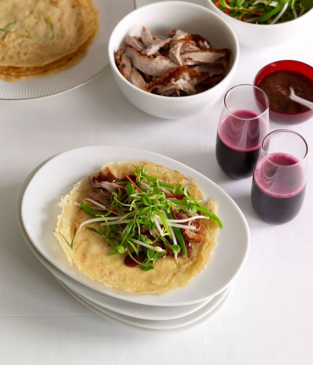 **Chinese roast duck with green onion pancakes**