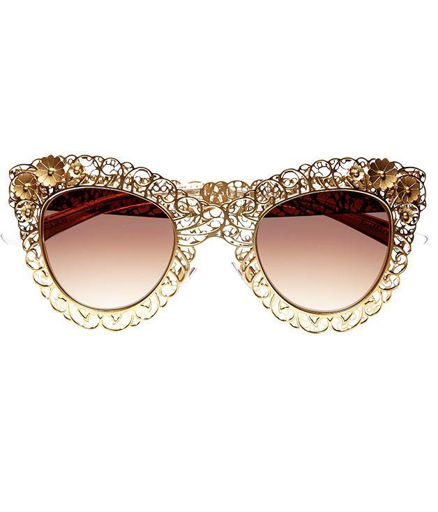 "**Dolce & Gabbana ""Filigree"" sunglasses** Look and feel like a million bucks in [Dolce & Gabbana](http://sunglasshut.com/au ""Sunglass Hut"")'s ""Filigree"" gold shades. $600."