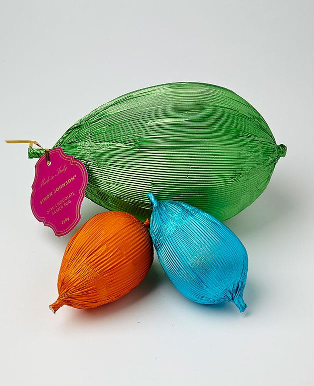 "**Simon Johnson Easter eggs** Add some colour to your Easter spread with these bright foil-wrapped eggs from Simon Johnson. They're made from seriously smooth 54 per cent dark chocolate, too. We like. _Green dark chocolate egg, $39.95 for 350gm, orange dark chocolate egg, $26.95 for 200gm, turquoise dark chocolate egg, $26.95 for 200gm. [simonjohnson.com.au](http://www.simonjohnson.com/ ""Simon Johnson"")_[   ](http://www.simonjohnson.com/)"