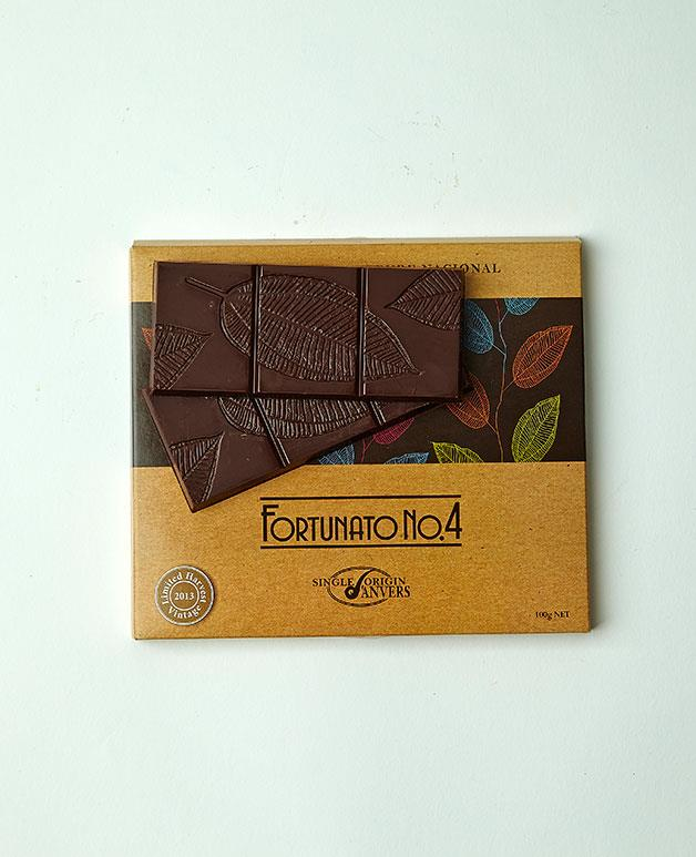 "**Fortunato No 4** Another top block, this rare Peruvian chocolate, made from a direct descendant of the original mother cacao tree, gains major points for its purity and smoothness. _$10.50. [anvers-chocolate.com.au](http://anvers-chocolate.com.au/ ""Anvers"")_"