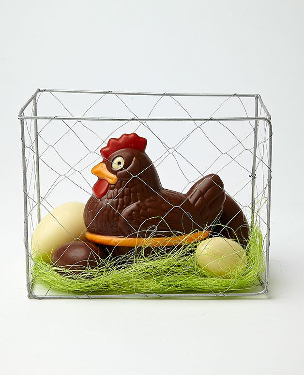"""**Luxocolat Easter hen** Barcelona chocolatier Luxocolat's milk chocolate hen comes replete with four milk and white chocolate eggs to nest on and her very own cage. Awww. _$36.95. [rawmaterials.com.au](http://rawmaterials.com.au/catalog/index.php """"Raw Materials"""")_"""