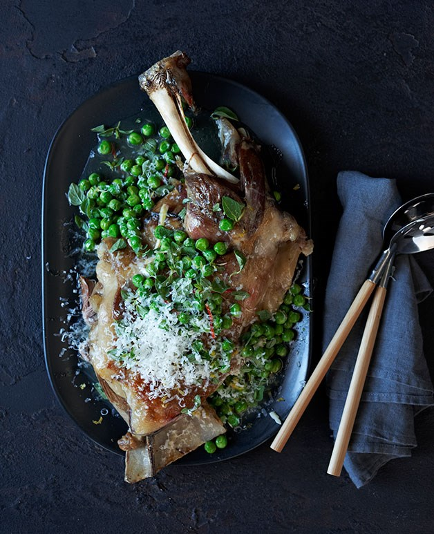 Lamb shoulder braised in wine with peas and pecorino