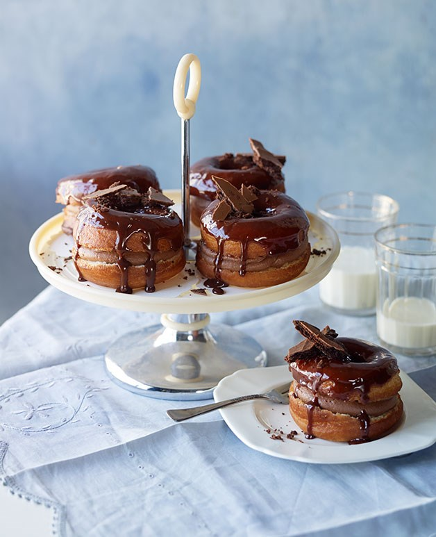 Chocolate-cream doughnuts