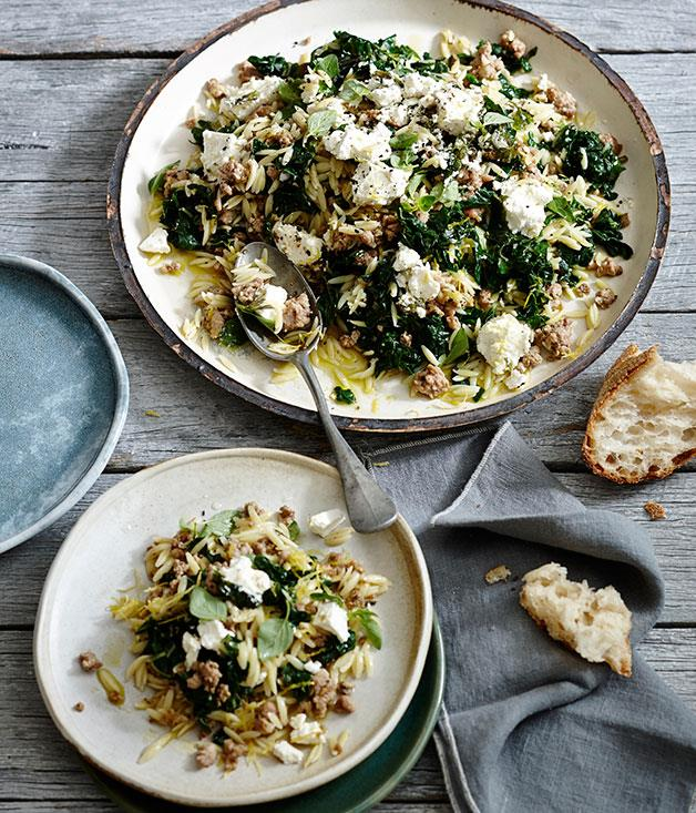 "**[Orzo with pork, silverbeet and feta](https://www.gourmettraveller.com.au/recipes/fast-recipes/orzo-with-pork-silverbeet-and-feta-13464|target=""_blank"")**"