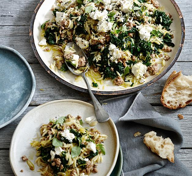 Orzo with pork, silverbeet and feta