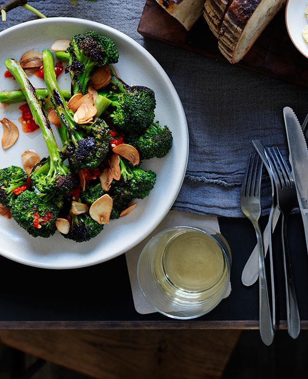 "**[Mat Lindsay's broccolini with chilli and burnt-garlic vinaigrette](https://www.gourmettraveller.com.au/recipes/chefs-recipes/broccolini-with-chilli-and-burnt-garlic-vinaigrette-8037|target=""_blank""|rel=""nofollow"")**"