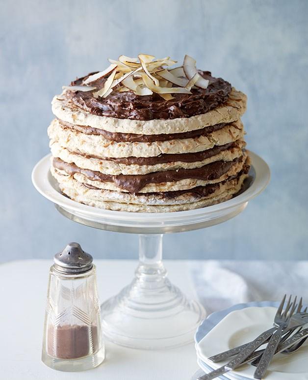 Choc-coconut macaroon cake