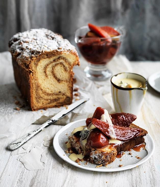 "[**Ginger twist with quince and spiced custard**](https://www.gourmettraveller.com.au/recipes/browse-all/ginger-twist-with-quince-and-spiced-custard-11758|target=""_blank"")"