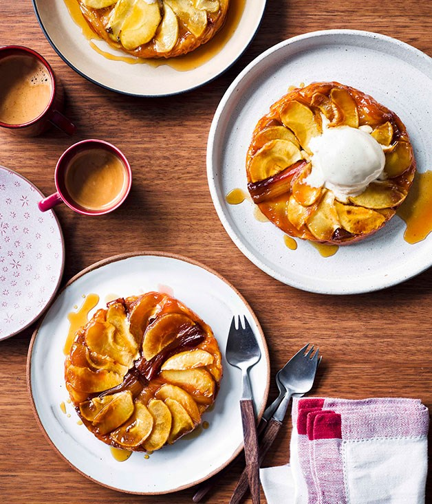 "[**Rhubarb and apple tarte Tatin with Calvados ice-cream**](https://www.gourmettraveller.com.au/recipes/browse-all/rhubarb-and-apple-tarte-tatin-with-calvados-ice-cream-13939|target=""_blank"")"