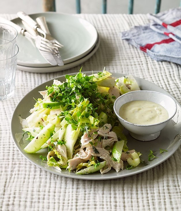 **Roast chicken salad with cider, apple and witlof**